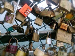 On this bridge in Paris, lovers inscribe their names on a lock then attach it to the bridge before throwing the key into the river.